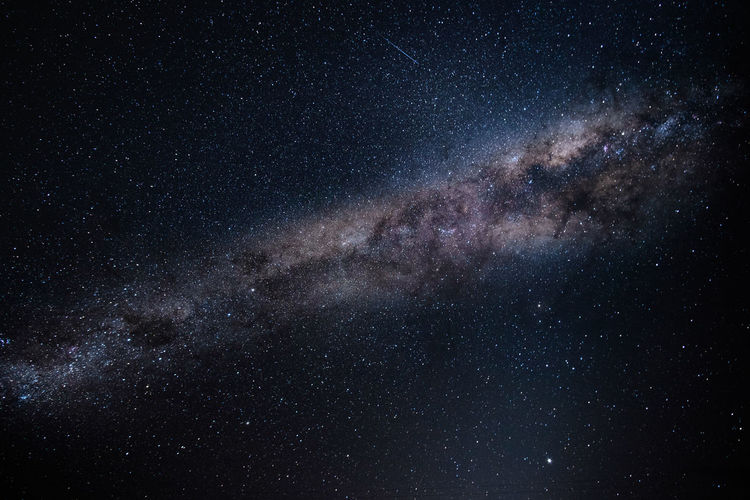 Star field against sky at night in new zealand