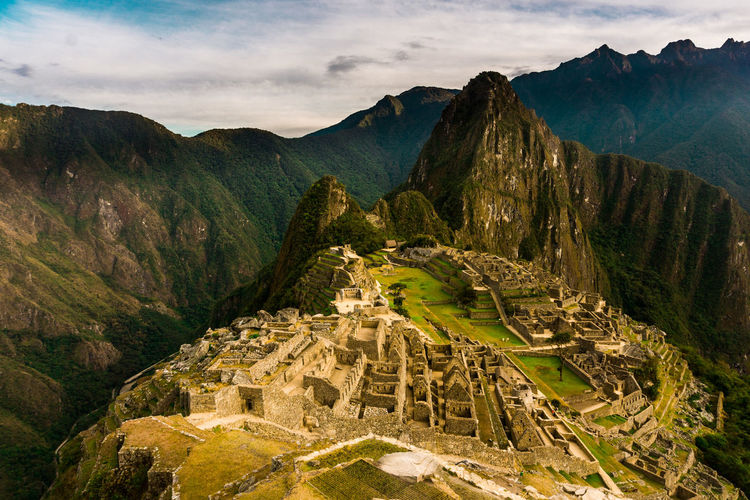 Aerial view of ancient architecture against rock mountains