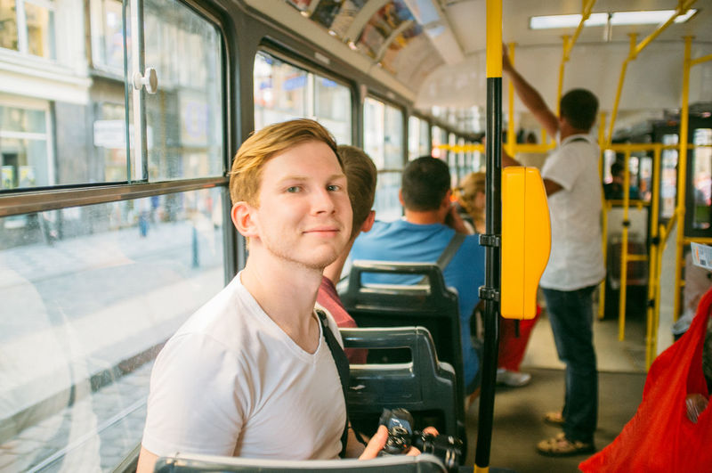 Young Man on a Tram in Prague