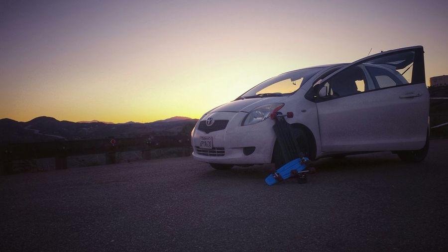Early Morning Cold Temperature Toyota Yaris Longboard Pennyboard Airwalk Poway, Ca