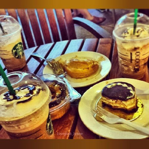 Enjoying this rainy saturday with my saturdates @patricialalisan15 in @alabangtowncenter. Frenchdonuts Cafefrance Starbucks Frappucino saturday chill goodvibes