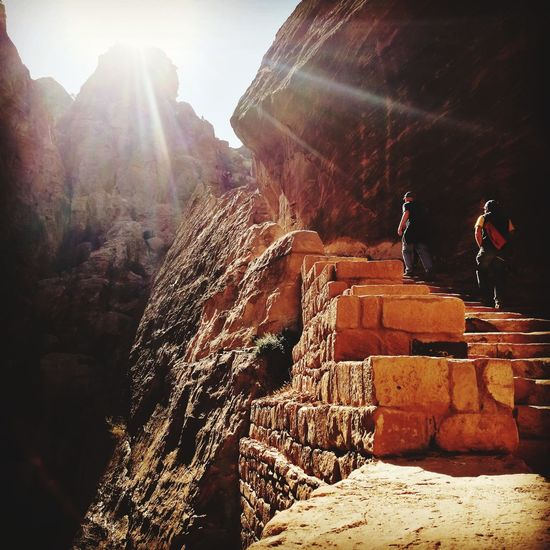Outdoors Sunlight Mountain Nature Petra Jordan Petra Travel Destinations Travel Photography Travel Trekking Jordanie Voyage Adventure Stairs first eyeem photo