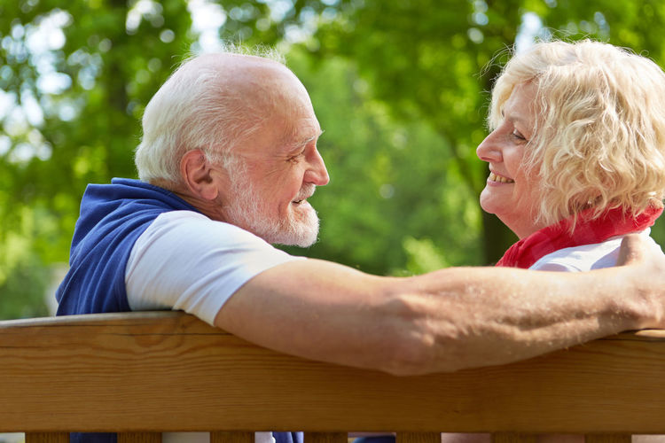 Smiling Senior Couple At Park