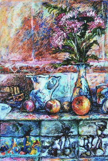 """My impression of a Russian Kitchen , the original is available in """"LinanDara's Art-n-Folk"""" shop on Storenvy.com, for prints head to """"Linandara"""" shop on Zazzle and type """"aster"""" in the products search box. Multi Colored Art Artworks Still Life Pastel Painting рисунок натюрморт осень кухня астры гжель Arte Asters Orange Gzhel Vase Russia Autumn Fall"""