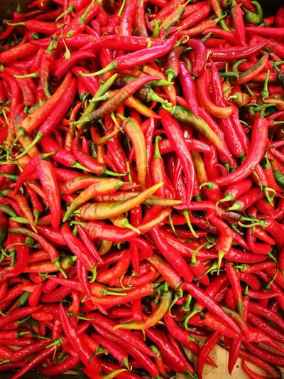 Red chilli Abundance Backgrounds Chili Pepper Close-up Food Food And Drink For Sale Freshness Full Frame Ingredient Large Group Of Objects Market No People Pepper Red Red Chili Pepper Retail  Spice Still Life Vegetable