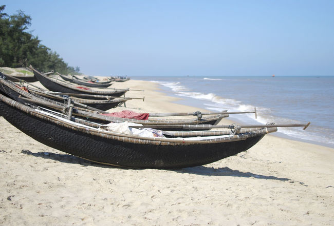 On the beach in Hue, Vietnam Beach Beauty In Nature Blue Boat Clear Sky Day Hue, Vietnam Huế Majestic Moored Nature Nautical Vessel No People Outdoors Sand Scenics Sea Seascape Shore Sunlight Tranquil Scene Tranquility Transportation Vietnam Water