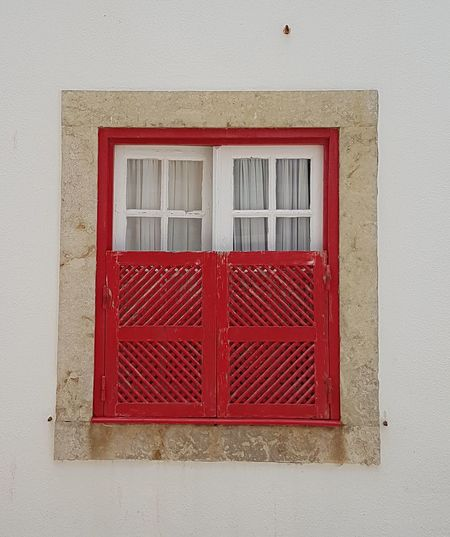 Close-up of red window