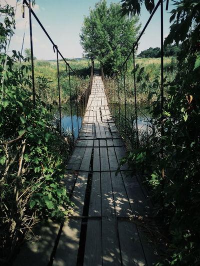 Rustic narrow bridge over river