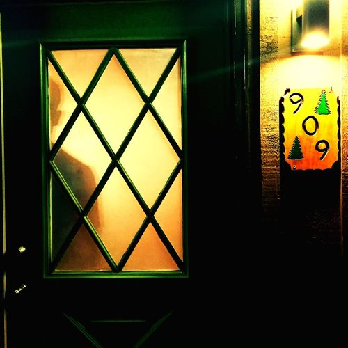 Green Color Geometric Shape Yellow Light And Shadow Silhouette Man Silhuette Sign Cabin In The Woods Peeping Through Behind The Door Smoky Mountains