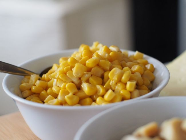 Food Food And Drink Bowl Freshness Indoors  Wellbeing Healthy Eating Kitchen Utensil Vegetable Close-up No People Selective Focus Eating Utensil Ready-to-eat Spoon Corn Still Life Meal Focus On Foreground Table Sweetcorn Snack Vegetarian Food Breakfast