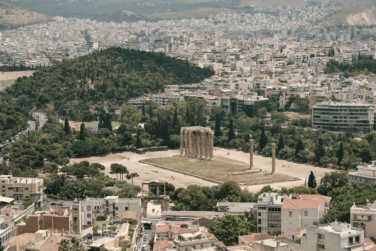 View Home Cloud Ruin European  Historic History Tourism Building Archeology Greece Winter House Civilization Ancient Monument Famous Snow Greek Art Panoramic Mediterranean  Europe Parthenon Day Mountain Sky Travel City Classical Town Temple Landmark Zeus Hellenic Color Heritage Culture Capital Landscape Athens Old Acropolis Urban Cityscape Architecture Stone Aerial