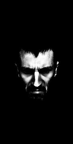 Black And White Evil Face Dark Eyes Portrait