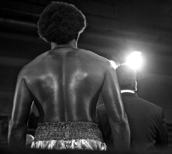Rear View Of Shirtless Boxer In Ring