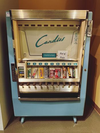 Vintage Retro Style Vending Machine Indoors  Communication No People Technology Wall - Building Feature Text High Angle View