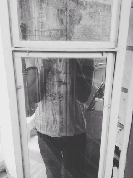 Hanging Out Reflection Window Mirror Tshirt Chair Noir Bnw Saturday Evening Everyday Joy Emotions