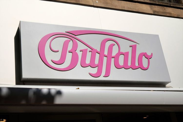 Mannheim, Germany - August 23, 2017: Buffalo shoe store. Buffalo Boots GmbH was founded in 1979 as a retail-business for cowboy boots Buffalo Fashion Shoe Shopping Shoe Shop Shoe Store Shoes Shop Shopping Footwear Retail  Shoes Store Store Sign