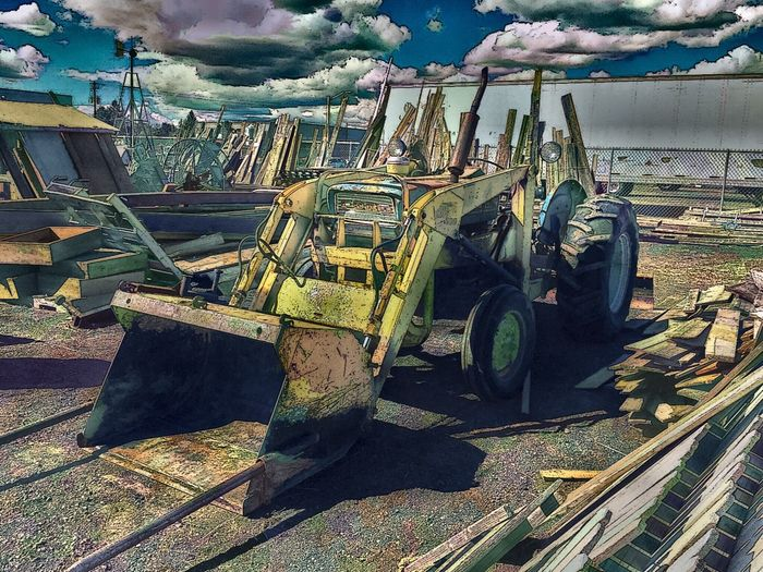 Equipment Construction Equipment Digital Art Antique Shopping Tractor Redmond Redmond Oregon Clouds Antique
