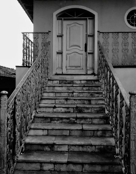Staircase Steps And Staircases Steps Architecture Built Structure The Way Forward No People Outdoors Day Blackandwhite Black & White Railing Sky