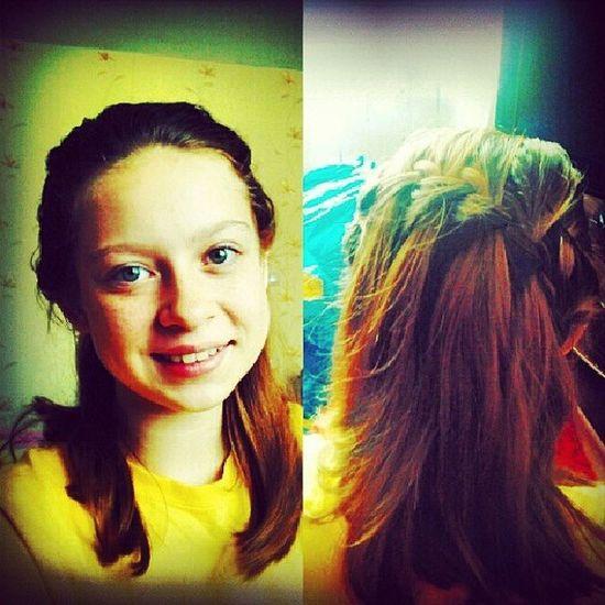 Утроволосы коса красиво нравится школьнаяглазкиголубыеулыбочкаhairmorningschooleyes