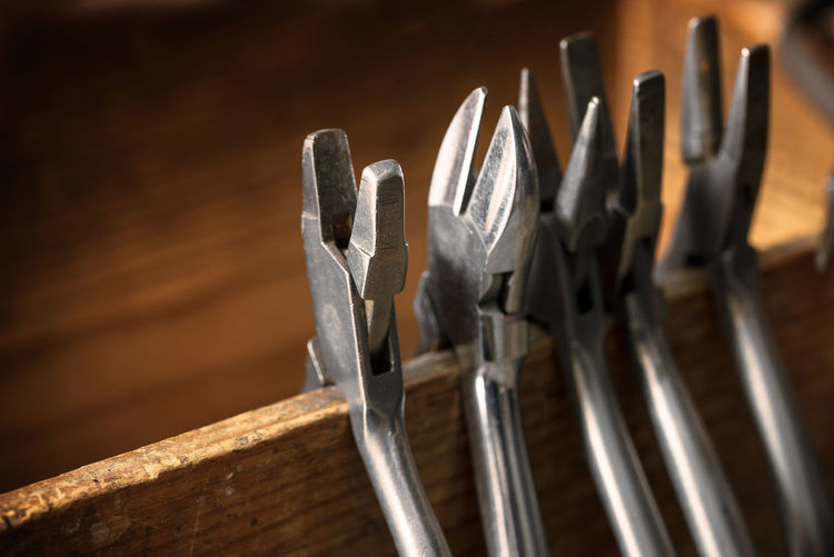 Close-up of work tools in workshop