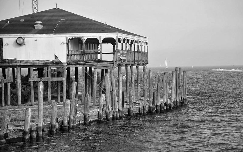 A relic of hurricane Ike in Kemah TX. Right across from the very well developed Kemah Boardwalk. Blackandwhite Photography Seascape Galveston Bay Kemah Boardwalk Clear Lake Shores Clear Lake  Built Structure Deserted Scapes