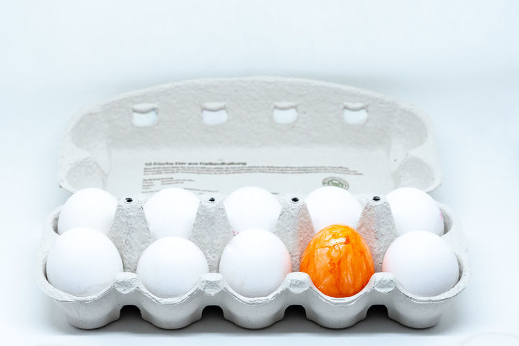Box of eggs for easter Food Food And Drink No People White Color Close-up Studio Shot Indoors  Egg Celebration Healthy Eating Still Life White Background Orange Color Wellbeing Medium Group Of Objects Ready-to-eat Sweet Food Cold Temperature Container Temptation