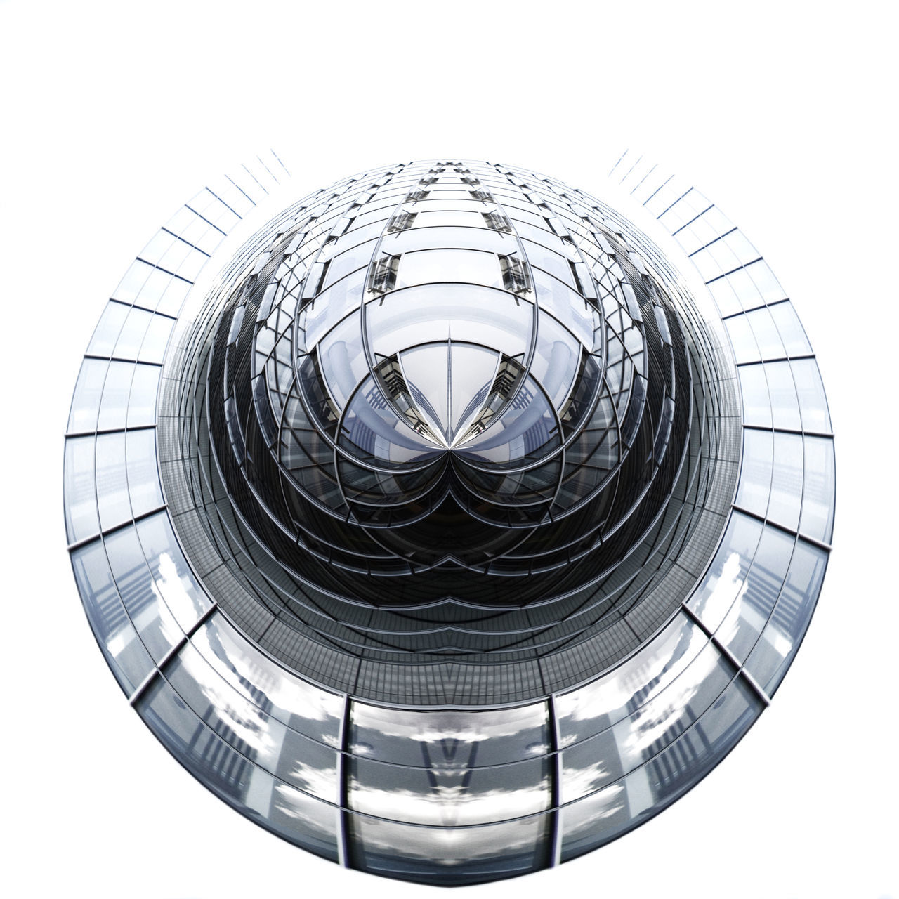 Little Planet Of Modern Glass Building In City