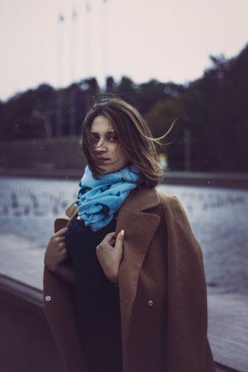 Portrait of woman standing in winter
