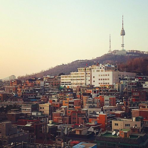 이태원 경리단길 남산타워 용산구 카페에서 Namsan NTower Seoul Korea View Cityscape City Life Cafe Time