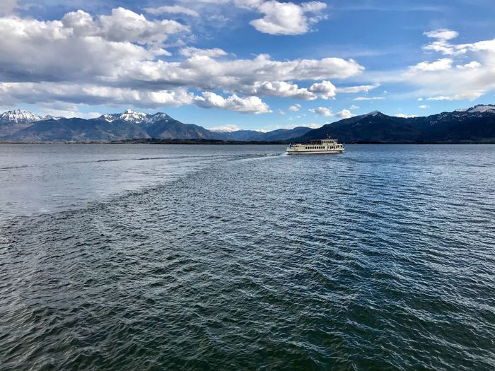 Ferry Chiemsee Lake Water Cloud - Sky Sky Mountain Scenics - Nature Beauty In Nature Waterfront Tranquil Scene