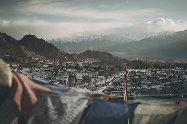 View from Leh Palace Architecture Background Beauty In Nature Building Building Exterior Built Structure City Cityscape Cloud - Sky Day Environment Hand Lifestyles Mountain Mountain Range Nature Outdoors People Real People Residential District Scenics - Nature Sky TOWNSCAPE Water