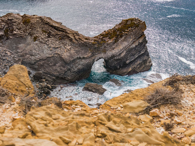 Nature Nature Photography Portugal Rock Rock Formation Tranquility Travel Travel Photography Traveling Beauty In Nature Cavaleiro Eroded Geology High Angle View Landscape Nature_collection Ocean Photography Rock - Object Scenics Scenics - Nature Sea Sunshine Travel Destinations Water