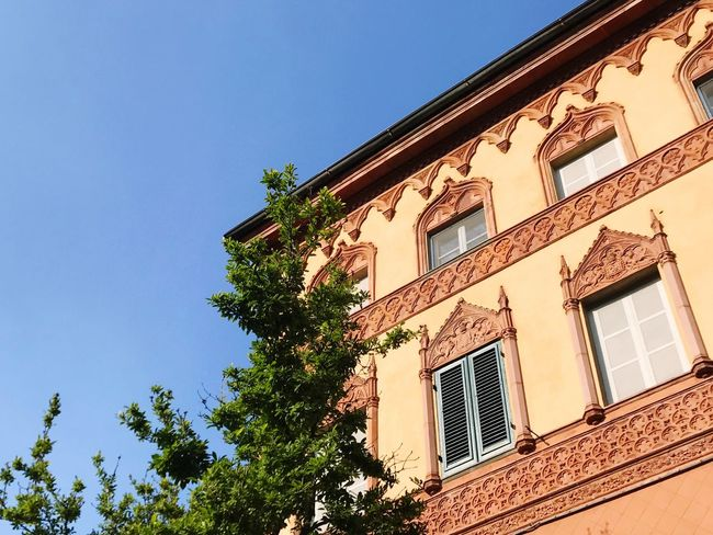 Building Exterior Window Architecture Low Angle View Built Structure Tree Clear Sky No People Blue Sky Outdoors Day Sunlight Residential Building Blue Sky Nature Bagni Di Lucca Italy Italia Tuscany
