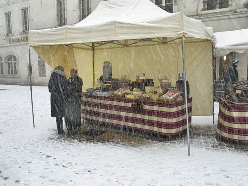 Day Open Air Market Outdoors People Selling Cheese Snow Day
