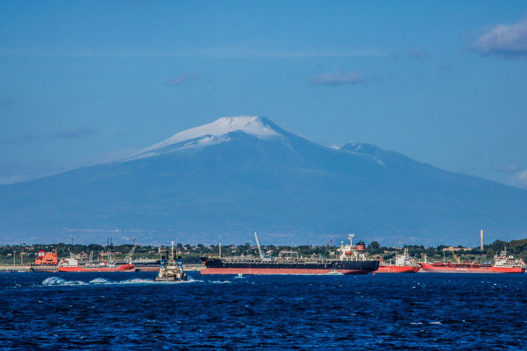 Etna Tanker Blue Day Mountain Nature Nautical Vessel No People Oil Industry Outdoors Scenics Sea Ship Shipping  Ships Sky Transportation Tug Tugboat Water