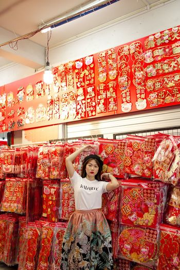 Chinese New Year Fashion Photography Red Lunar New Year Asian Culture Asian  Women Of EyeEm Portrait Of A Woman One Person Front View Indoors  Real People Red Childhood Lifestyles Standing Women Females Portrait