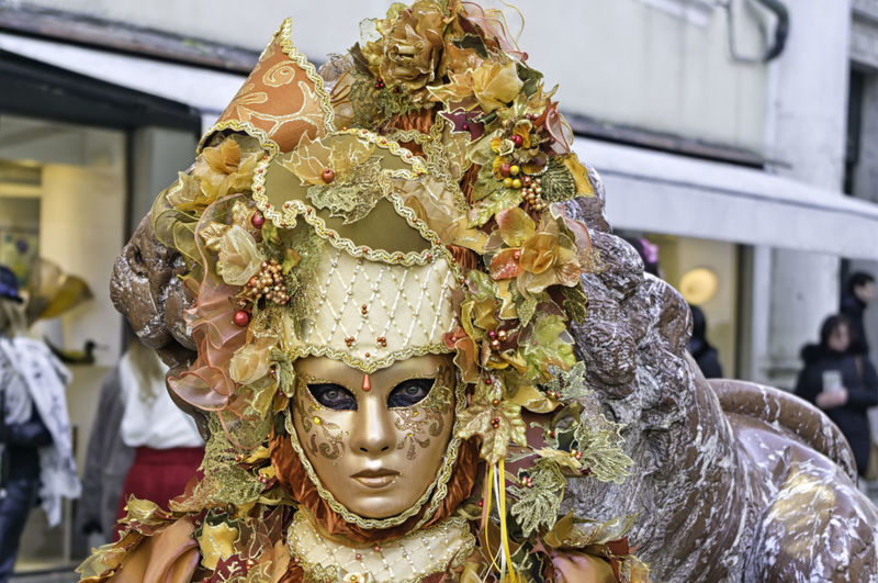 Portrait of a beautiful woman wearing an orange mask with leaves and berries during the Venetian carnival party in San Marco square Berries Disguise Elégance Fun Lady Masque Orange Tradition Venetian Woman Carneval Carnival Close-up Costume Dressing Hide Italy Mask Masquerade Mistery Party San Marco Traditional Unrecognizable Venice