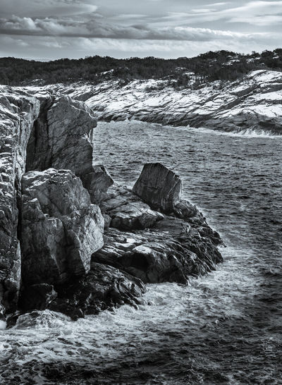 Views from Golta, Norway. Rock Water Rock - Object Solid Beauty In Nature Nature Sea No People Day Scenics - Nature Sky Cloud - Sky Rock Formation Tranquility Land Motion Beach Tranquil Scene Outdoors Flowing Water Power In Nature Rocky Coastline Eroded Blackandwhite Photography Landscape_Collection