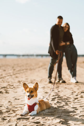 Couple and dog at beach against sky