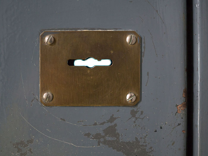 Look over Armoured Brass Close-up Door Freedom Jail Key Keyhole Lock Metal Metallic Open Patch Plate Porta Blindata Rectangle Rust Schlüssel Scraping Scratches Screw Security Door Sicherheitstür Slot Sperren