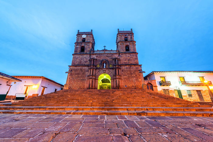 Nighttime view of the sandstone cathedral in the colonial town of Barichara, Colombia Architecture Barichara Building Cathedral Church Colombia Colonial Culture Façade Front Historic History Houses Landmark Latin Religion Sandstone Santander Spanish Street Tourism Town Travel Typical Wall