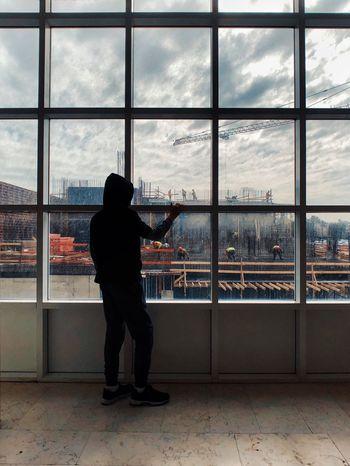 מייגיא מייאייפון10 ShotOnIphone IPhoneX Window Full Length Cloud - Sky Indoors  Looking Through Window Sky Colour Your Horizn One Person Standing Architecture Cityscape