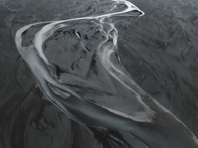 Shades of Gray Drone  From Above  HUAWEI Photo Award: After Dark Iceland Aerial Glacier Gray River Water
