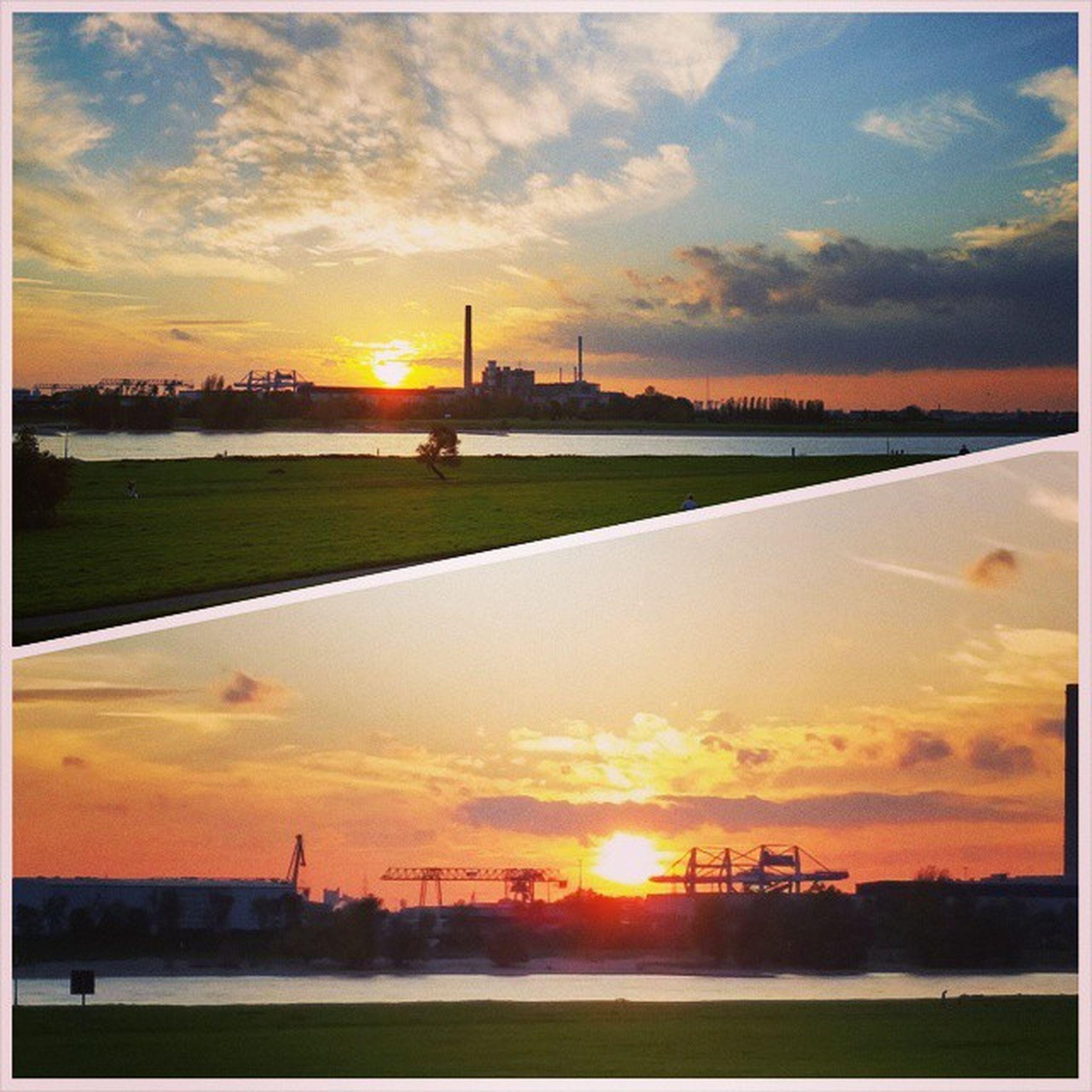 sunset, sun, orange color, sky, scenics, water, silhouette, beauty in nature, tranquil scene, cloud - sky, tranquility, sunlight, idyllic, nature, landscape, cloud, field, architecture, built structure, reflection