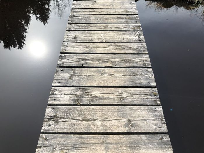 High angle view of wooden pier over lake