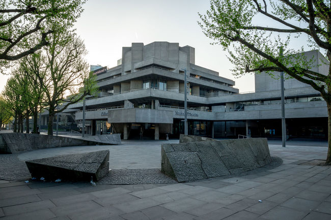 Royal National Theatre building in South Bank, London, Great Britain Architecture City Center City Centre Great Britain London Modern Performing Riverside Thames River United Kingdom Art Building Capital Denys England Lasdun Location National Flag Theatre