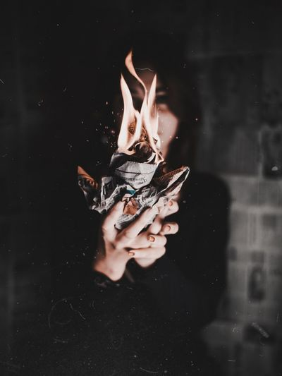 This fire Burns always. Fire Portraits Human Hand Black Background Swimming Close-up First Eyeem Photo