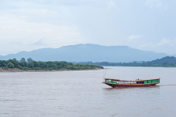 Boat on the mekong river in chiang saen, chiang rai province, thailand.