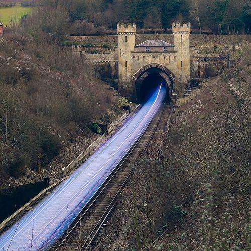 High angle view of tracks