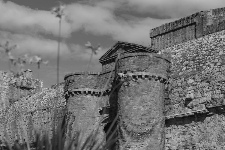 Low Angle View Military Fortres Round Defence Turrets Ancient Architecture Black And White Photography Built Structure Castle Day Historic Building No People Stone Buildings Stone Walls